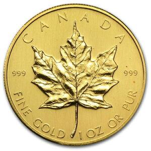 1980 Kanadische Ahorn Goldmünze 1 Unze. (Mit 30mm klarem Gehäuse)