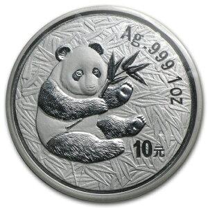 新未使用的2000年中国熊猫银币1盎司真空包装
