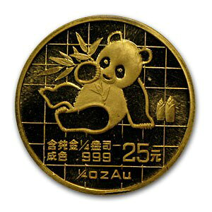 신규 미사용 1989 Chinese Panda Gold Coin 1/4 oz