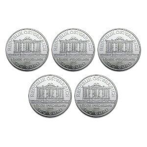 Nouvelle pièce de monnaie en argent de Vienne autrichienne 2014 non utilisée 1 oz [5 pièces] ensemble boîtier transparent 37 mm [5 pièces] inclus