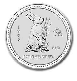 1999年製 兎(ウサギ)銀貨 1キロ  クリアーケース付き