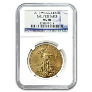 2013-W 1 oz Shiny Eagle Gold Coin NGC MS-70 (ER)