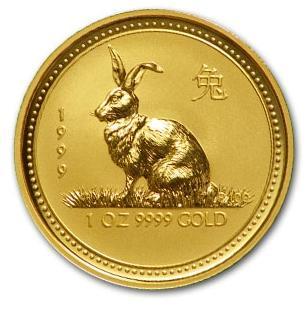 干支ウサギ金貨 1オンス 1999年製 オーストラリアパース造幣局発行(Series I)