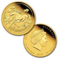 ホース金貨1,1/4,1/10オンス3枚セット2014年製オーストラリア造幣局発行【BOX付き】