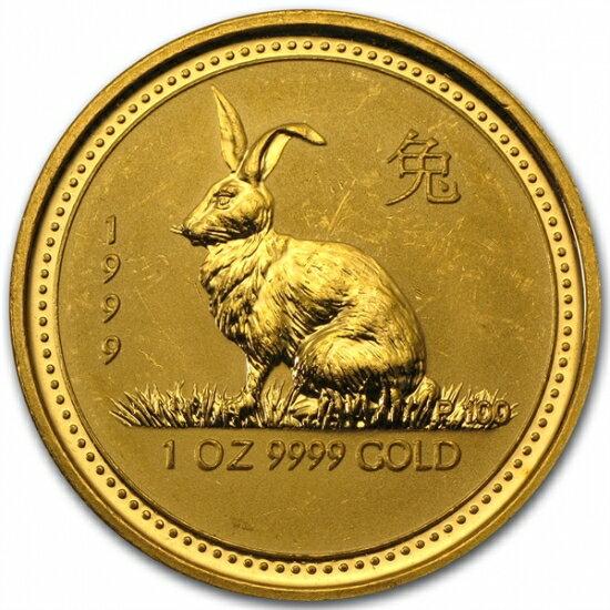 干支ウサギ金貨 1オンス 1999年製 オーストラリアパース造幣局発行(Series I)【擦り傷有】