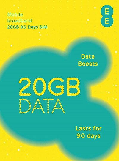 イギリスで使えるプリペイドSIMカード EE SIM【20GB/90日利用可能】4G/3G通信!