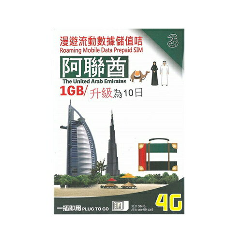 ドバイ SIM カード!3G/4Gデータ通信【10日間1GBデータ定額】UAE アラブ首長国連邦 3HK