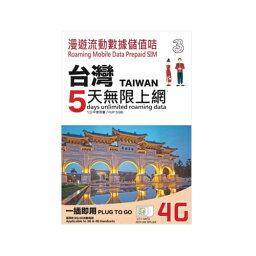 台湾 プリペイド SIMカード!3G/4Gデータ通信【5日間5GBデータ定額】3HK