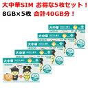 【5枚セット!合計40GB分】中国 SIMカード販売!30日間8GBデータ定額!大中華4G/3G 【中国全域、香港、台湾、マカオ】