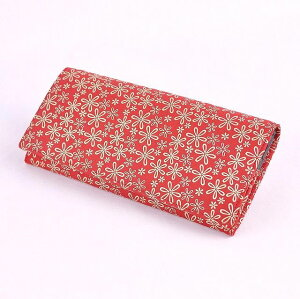 【印傳屋(いんでんや)(印伝)】財布束入Q(長財布タイプ)赤地白漆・雪割草《無料ラッピング承ります》《送料無料》【クリスマス】や【誕生日】などギフトに最適!