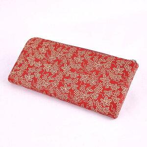 【印傳屋(いんでんや)(印伝)】の財布束入K(長財布)赤地白漆・ぶどう《無料ラッピング承ります》《送料無料》【クリスマス】や【誕生日】などプレゼントに最適!