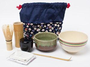 茶籠セット(野点セット)藍染 花柄千鳥 chakago-2-6 お茶のふじい・藤井茶舗