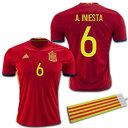 【豪華おまけ付き】 スペイン代表 2016 ホーム #6 A.INIESTA イニエスタ adidas【メール便送料無料】