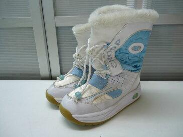 【中古】【あす楽可】☆スパイク付♪☆ラメ入りボアが可愛い♪)☆CHOOP(シュープ)☆キッズ スパイク付きブーツ☆ホワイト×ライトブルー☆22cm