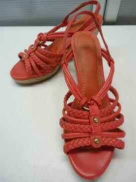 【中古】【あす楽可】OZOC/オゾック■ウェッジソールサンダル■23.5cm■ピンクオレンジ■マキシ丈スカートやロングスカートなどに合わせるとより夏っぽい一足です♪