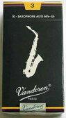 送料無料 Vandoren Traditional/バンドレン トラディショナル 青箱  E♭ アルトサックス リード 3 10枚入り