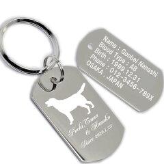 ドッグタグ キーホルダー 両面 犬 肉球 シルエット 名入れ ID タグ メッセージ 名前入り 刻印 彫刻 母の日 父の日 記念日 誕生日 プレゼント ギフト[ごほうび屋]