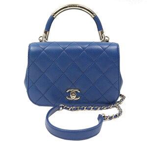 Chanel CHANEL Mattrasses mini bolso de hombro con asa accesorios de metal azul dorado bolso de hombro para mujer [usado]