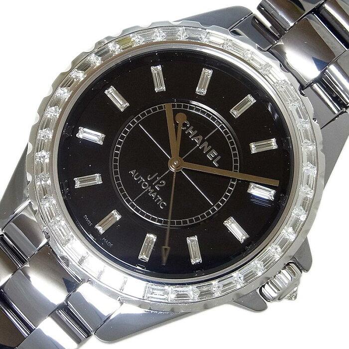 シャネル CHANEL J12 クロノマティック バゲットダイヤ H3155 自動巻き メンズ 腕時計【中古】