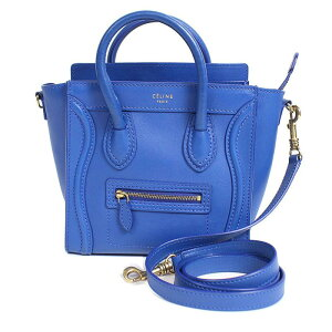 Celine CELINE Luggage Nano Shopper 168243 Blue Handbag Ladies [Used]
