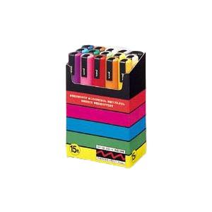 (業務用セット) 三菱鉛筆 ユニ ポスカ セット PC-5M15C 黒 赤 青 緑 黄 桃 水色 白 黄緑 紫 うす橙 山吹 橙 茶 灰【×2セット】