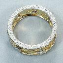 ダイヤ ダイヤモンド 彫金透かしデザイン リング 指輪 K18YG/WG【中古】GENJ
