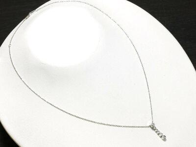 ダイヤモンド0.15ctネックレスK18WG【】