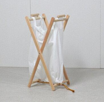 ひのき製レジ袋ハンガー 大小2個セット / ゴミ袋スタンド / 木製 レジ袋スタンド