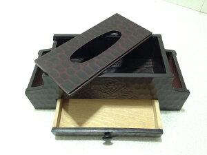 彫刻仕上げリモコン入れ付きティッシュケース
