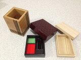 木製デスク3点セット(彫刻入り印鑑入れ・桐製名刺ケース・合竹製ペン立て)