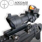 ◆最大2,400円引◆4倍 ACOG タイプ 4x32 スコープ & ドクタータイプコンパクト ドットサイト セット ダットサイト ANS Optical