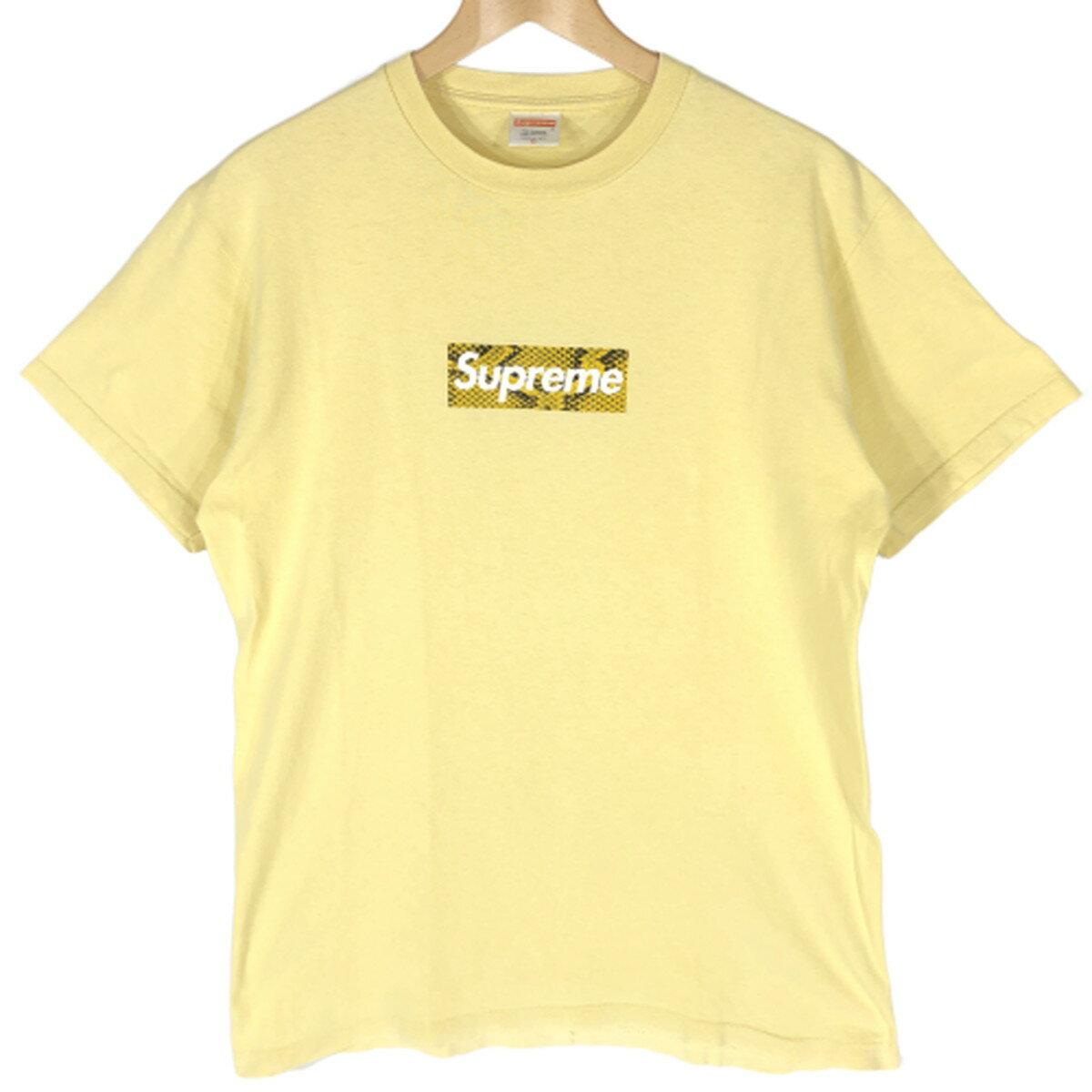トップス, Tシャツ・カットソー Supreme Snake Box Logo Tee 06AW T M Yellow