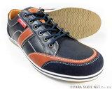 AMERICANINO(EDWIN)レザースニーカー カジュアルシューズ ネイビー×ブラウン ワイズ3E(EEE)28cm(28.0cm)、29cm(29.0cm)、30cm(30.0cm)【大きいサイズ(ビッグサイズ)メンズ紳士靴】