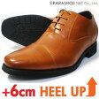 LASSU&FRISS ストレートチップ シークレットヒールアップ ビジネスシューズ 茶色 ワイズ3E(EEE)23cm(23.0cm)、23.5cm、24cm(24.0cm)【小さいサイズ(スモールサイズ)メンズ紳士靴】