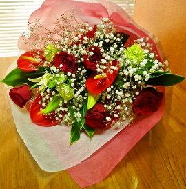 [送料込][父の日花][誕生日花]赤バラ・アンスリュームユリの花束