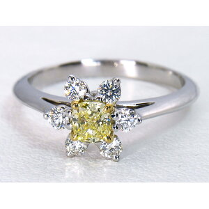[Used] ★ Juery Bank ★ Large Natural Color Diamond! Tiffany & co PT/750 Butter Cup Yellow Diamond Ring [With Tiffany & co Appraisal] D 0.37ct Fancy Yellow IF Gorgeous Shine High Jewel!!