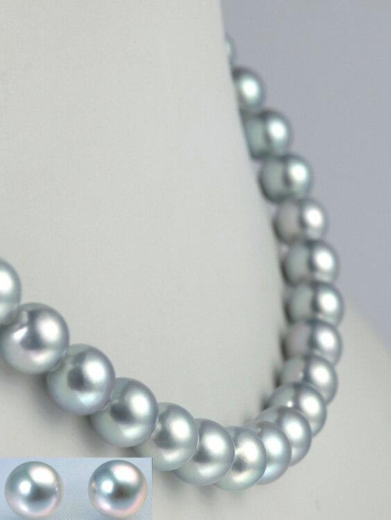 真珠ブルーグレーネックレスセット/8.5-9.0mm アコヤ真珠 パールネックレス:パールコレクション SHINWA