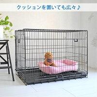 ペットケージすのこ付きXLサイズ106.5cm×69.5cm×高さ80cmブラック折りたたみ式スチール製ペットケージケイジ中型犬大型犬送料無料ペットに清潔な住まいプチリュバン