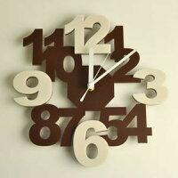 壁掛け時計/インテリア時計/ロックロックプラスブラウンアイボリー《針:シルバー》