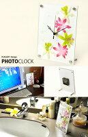 インテリア置時計/卓上時計/グリーンクロックアフリカンリリーピンク