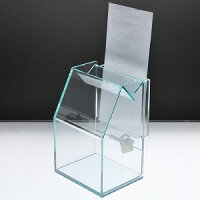 アクリルスライド募金箱ガラスエッジ鍵付A4三つ折チラシケース付