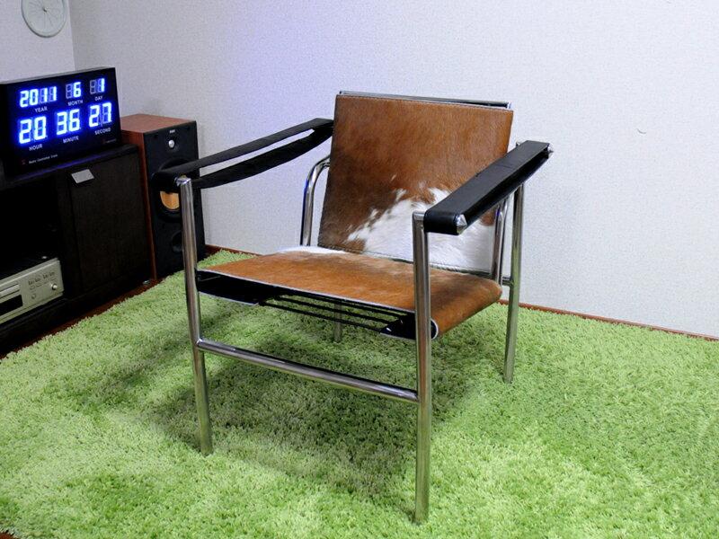 ル・コルビジェ LC1 ポニー スリングチェア ブラウン×ホワイト 最高級ポニースキン仕様 Le Corbusier Sling Chair Pony 椅子 イス いす パーソナルチェア 一人用 1人用 ダイニングチェア カウンターチェア