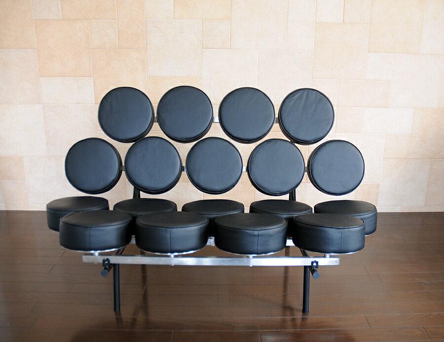 マシュマロチェア/ブラック black/イタリアンレザー本革仕様/ジョージ・ネルソン作 新品 デザイナーズ 一人用ソファ パーソナルソファ sofa black 応接 家具