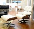イームズ ラウンジチェア・オットマンセット/ホワイト×ウォールナット/総本革 座り座り心地は極上/Charles Ray Eames パーソナルチェア 1人用 1人掛け 椅子 いす イス