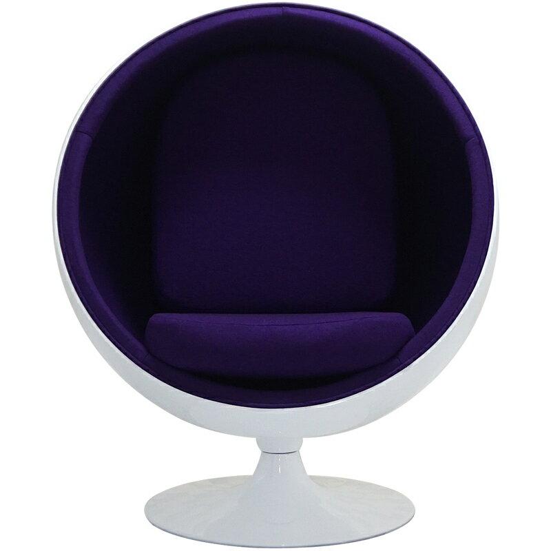 ボールチェア/エーロ・アールニオ デザイン/ホワイト×パープル Eero Aarnio ball chair ミッドセンチュリー パーソナルソファ 一人掛け リビング家具 応接家具 デザイナーズ家具 北欧
