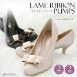 パンプス リボン ラメ フォーマル ハイヒール パーティ ゴールド レディースファッション 靴 新作 20代30代40代50代 ファッション