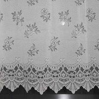 出窓用レースカーテンストレート丈長さ2サイズ88cmと105cmから、生地柄がツタ柄とバラ柄から選べます