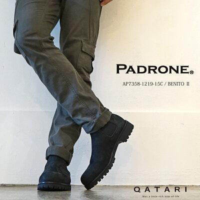 パドローネ・PADRONE 靴サイドゴアブーツ ヌバック エドガー4 ブラック PU-8054…