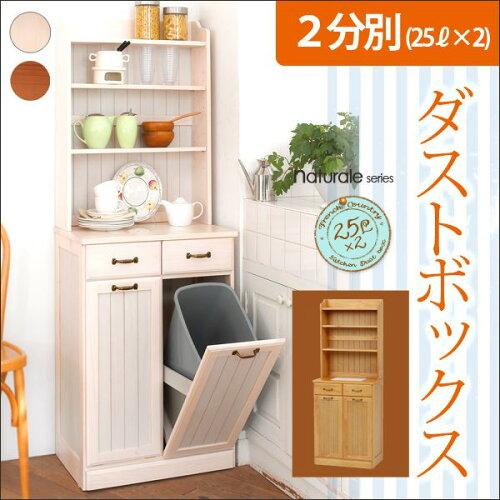 フレンチカントリー2分別ダストボックス棚付き(25L×2個)(ホワイト ナ...