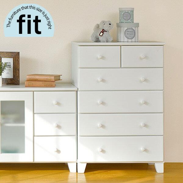 市場の日 8%OFFクーポン配布中 4/18(日)  完成品 ハイチェスト白ホワイト -fit-フィット (木製リビング収納棚
